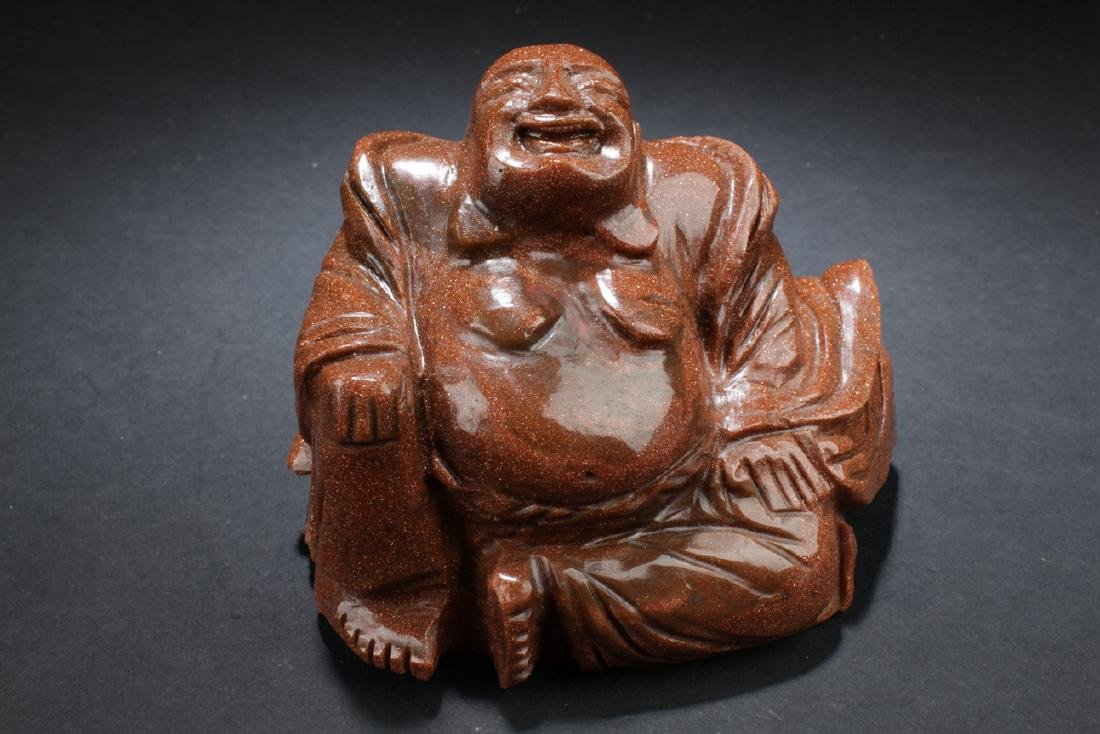 An Estate Chinese Dotted Stone-curving Happy Buddha