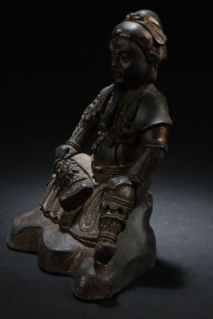 A Chinese Seated Estate Fortune Buddha Statue - 3