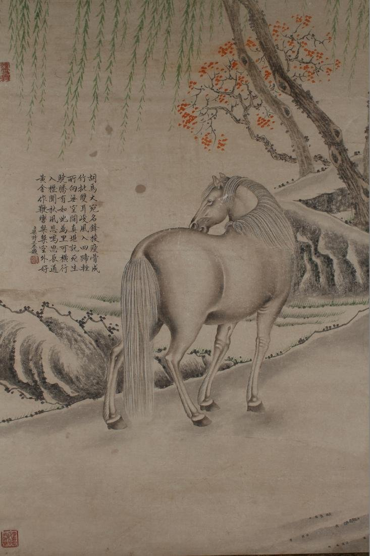 A Chinese Horse-portrait Estate Display Scroll - 3