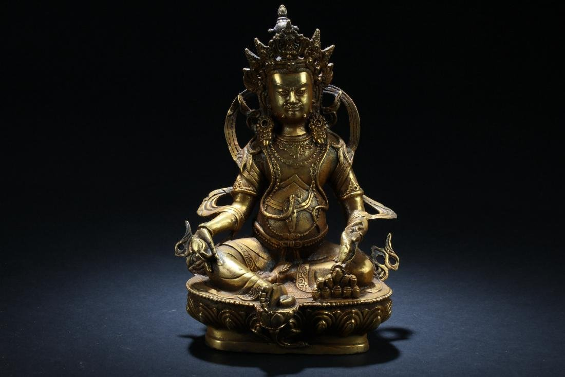 An Estate Chinese Gilt Buddha Statue Display