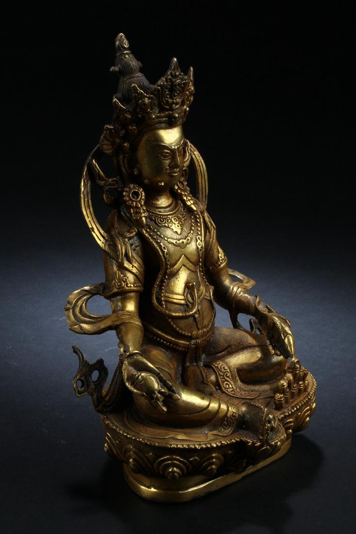 An Estate Chinese Gilt Buddha Statue Display - 2
