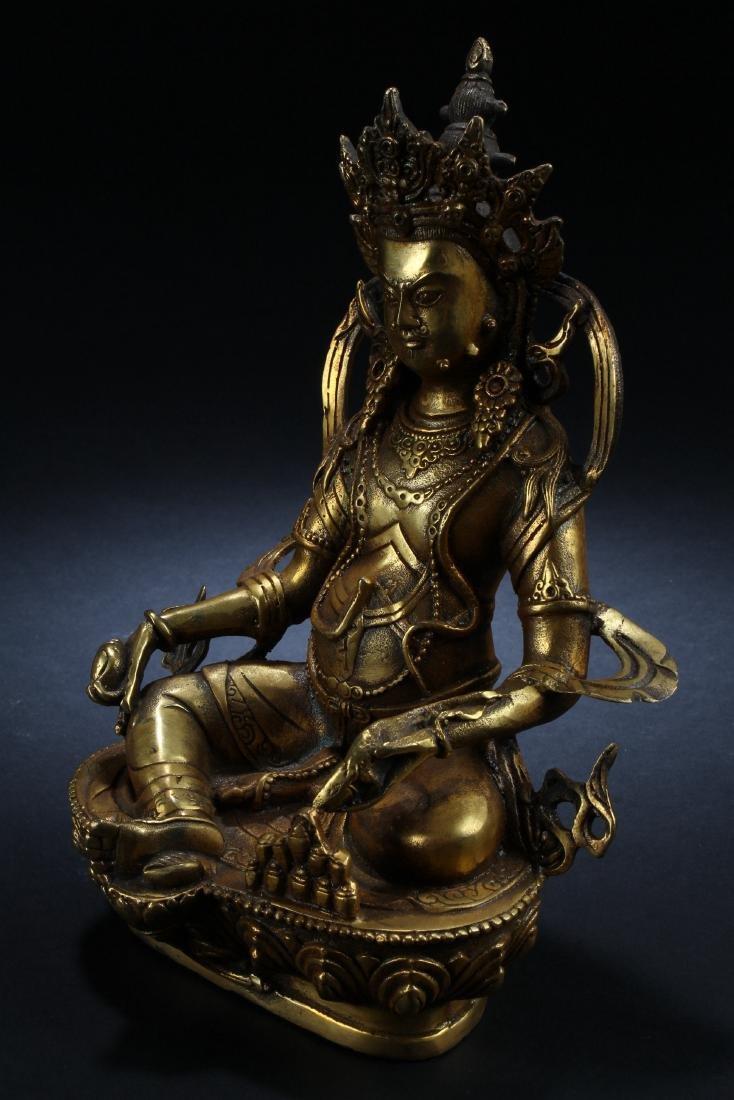 An Estate Chinese Gilt Buddha Statue Display - 3