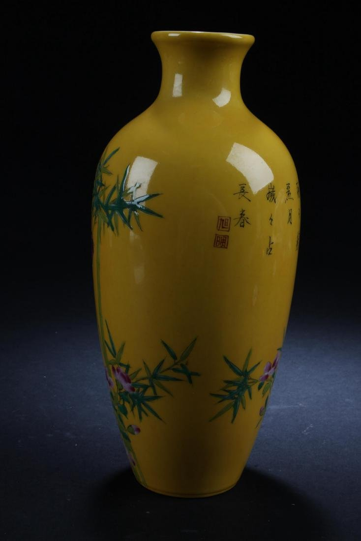 An Estate Nature-sceen Porcelain Fortune Yellow Vase - 2