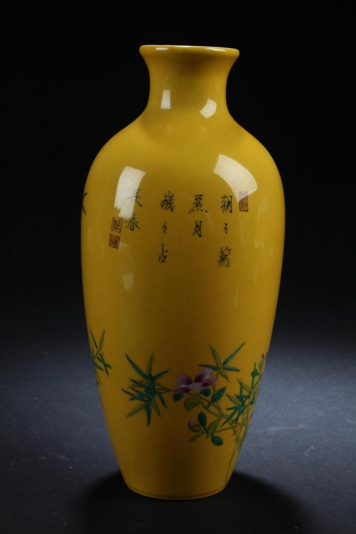 An Estate Nature-sceen Porcelain Fortune Yellow Vase - 3