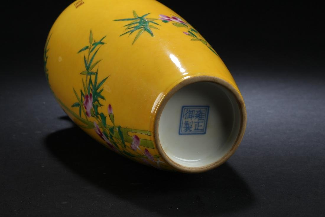 An Estate Nature-sceen Porcelain Fortune Yellow Vase - 5