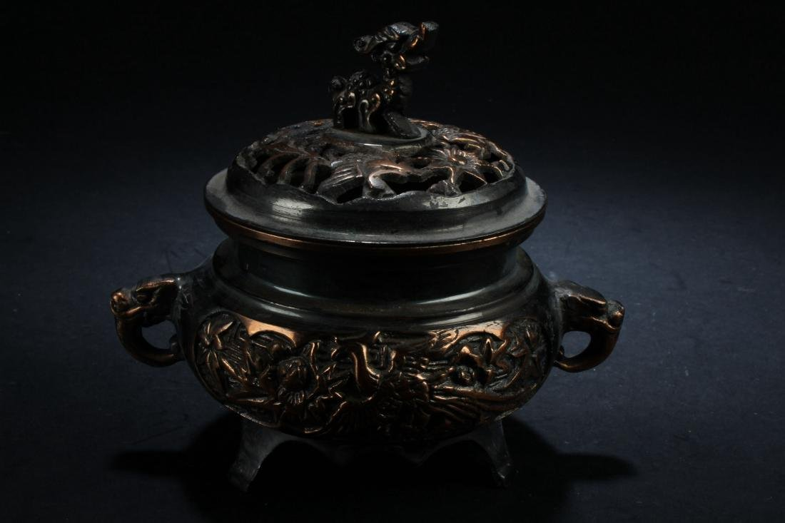 A Lidded Chinese Fortune Censer Display