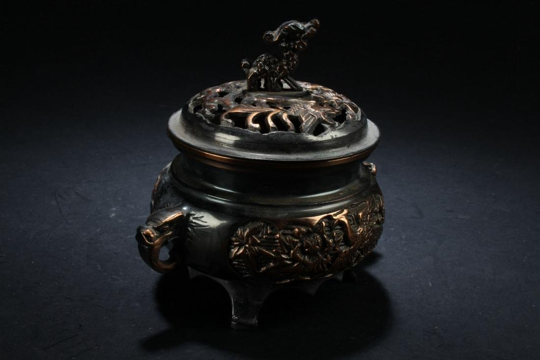 A Lidded Chinese Fortune Censer Display - 2