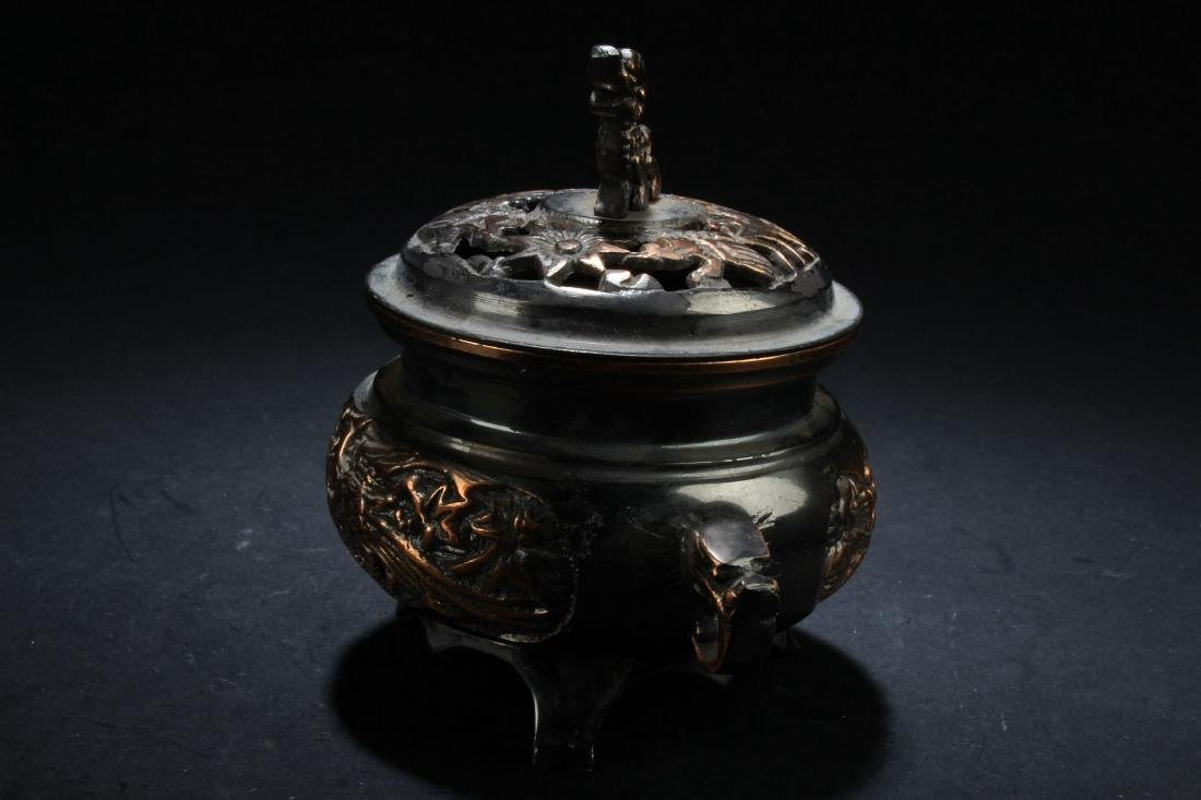 A Lidded Chinese Fortune Censer Display - 3