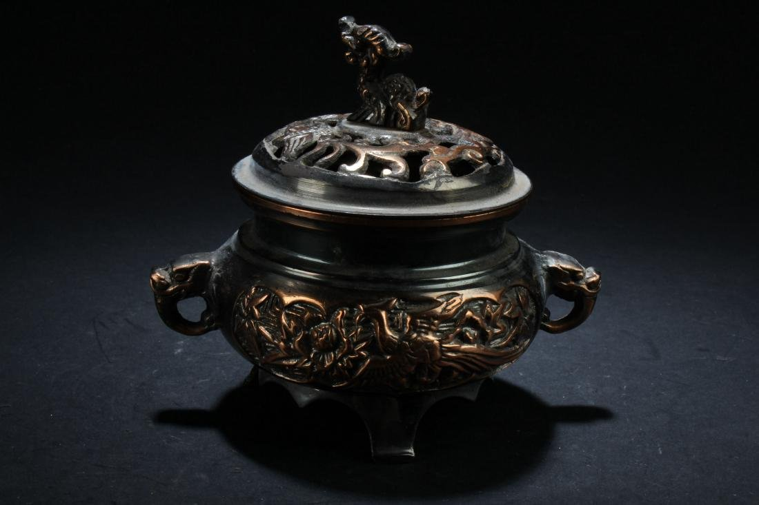 A Lidded Chinese Fortune Censer Display - 4
