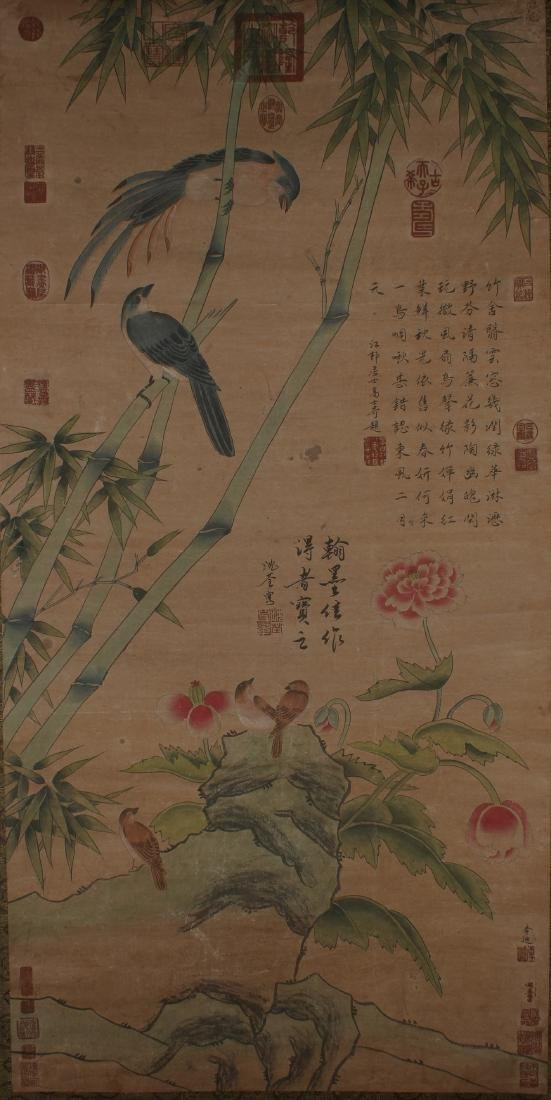 A Chinese Sparrow-fortune Nature-sceen Scroll Display