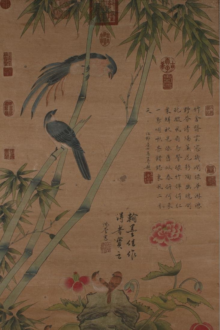A Chinese Sparrow-fortune Nature-sceen Scroll Display - 2
