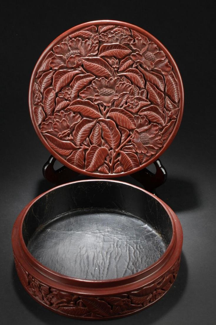 An Estate  Plant-filled Chinese  Lacquer Box