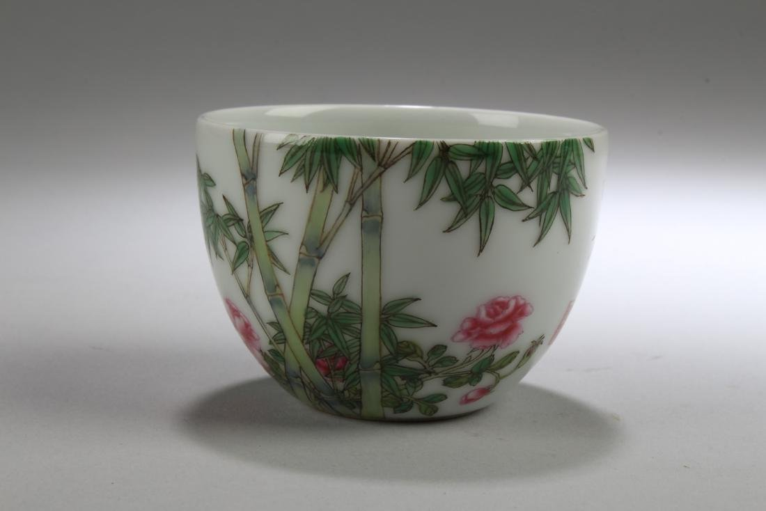 An Estate Chinese Bamboo-fortune Porcelain Cup Display
