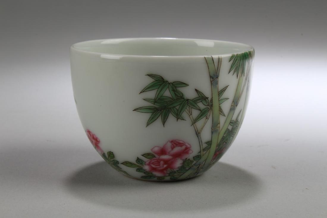 An Estate Chinese Bamboo-fortune Porcelain Cup Display - 2
