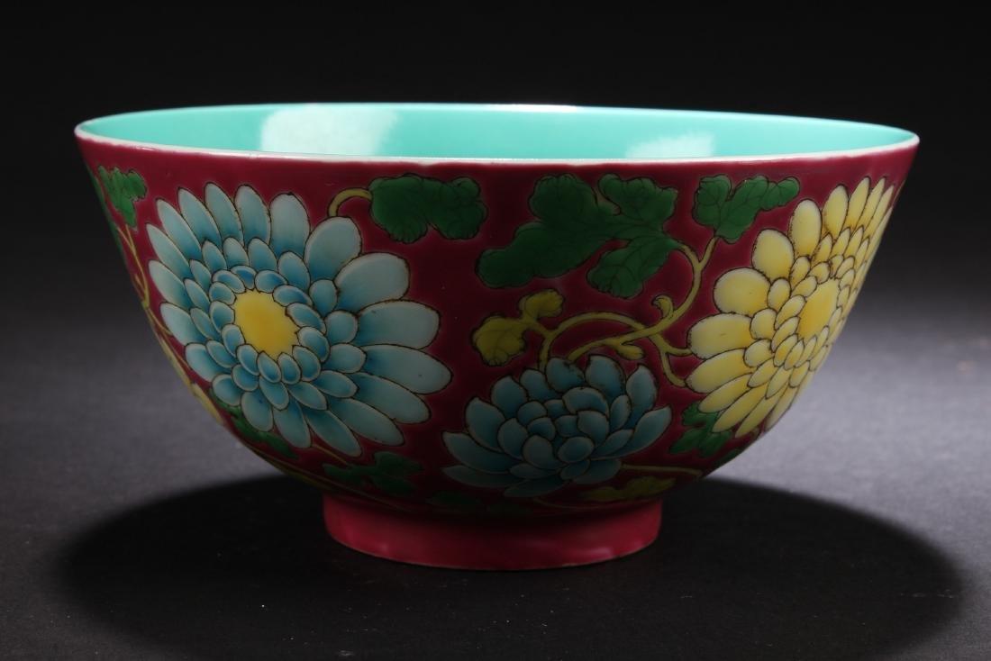 A Chinese Flower-blossom Estate Porcelain Bowl Display