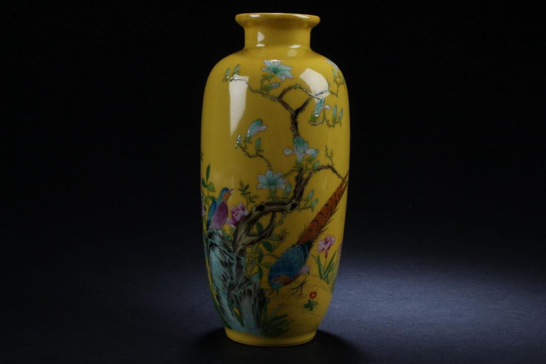 A Chinese Estate Nature-sceen Yellow Porcelain Vase