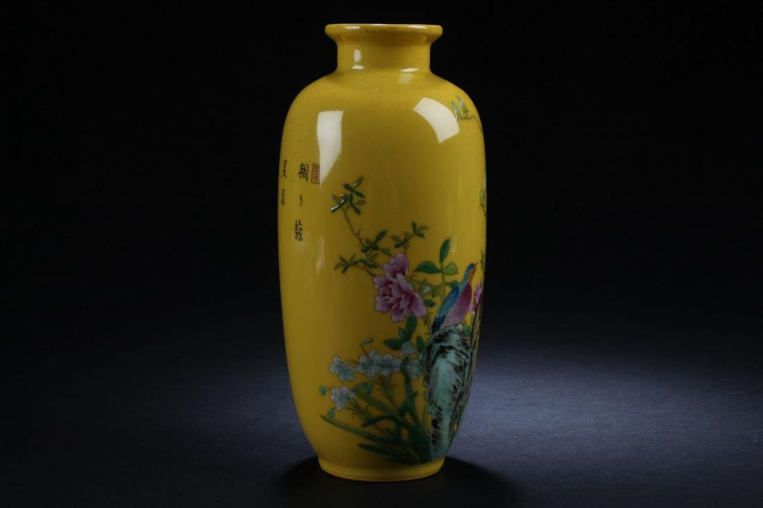 A Chinese Estate Nature-sceen Yellow Porcelain Vase - 2