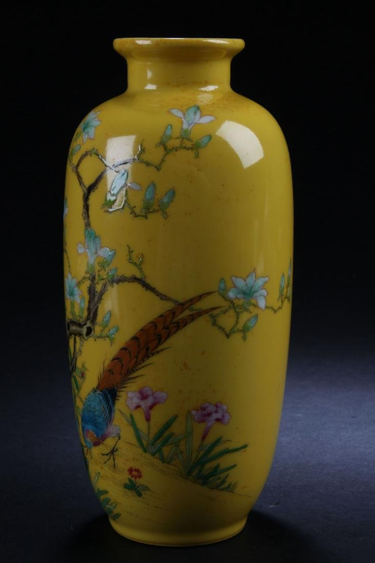 A Chinese Estate Nature-sceen Yellow Porcelain Vase - 4