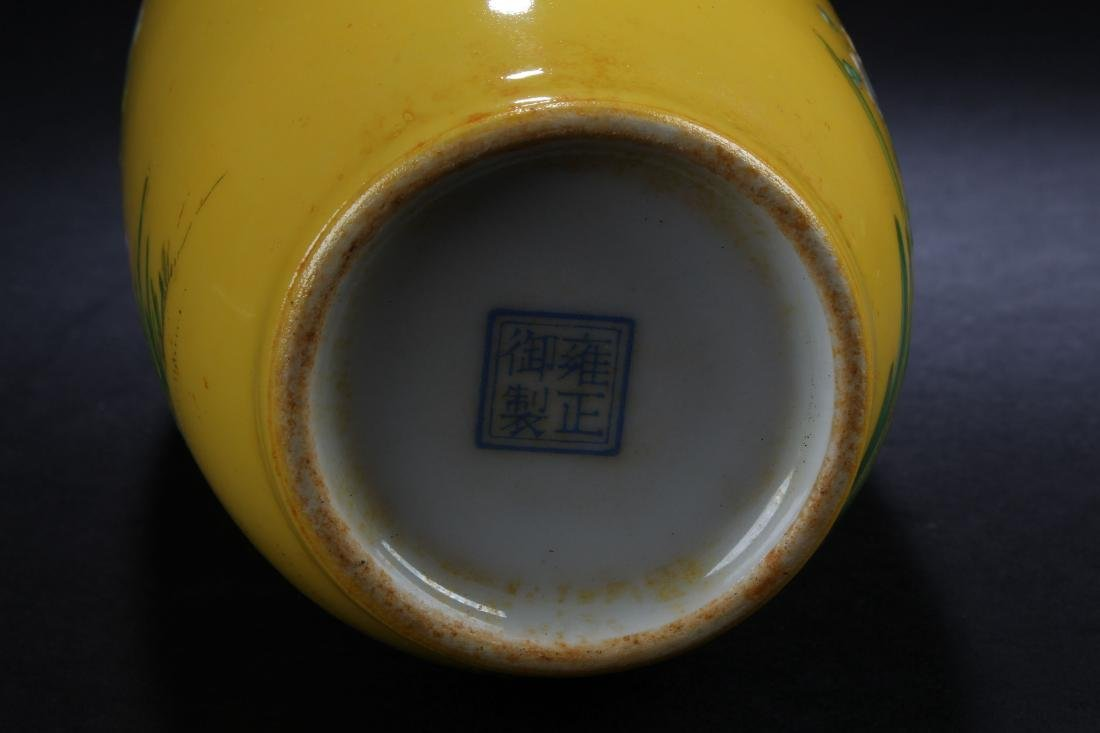 A Chinese Estate Nature-sceen Yellow Porcelain Vase - 5