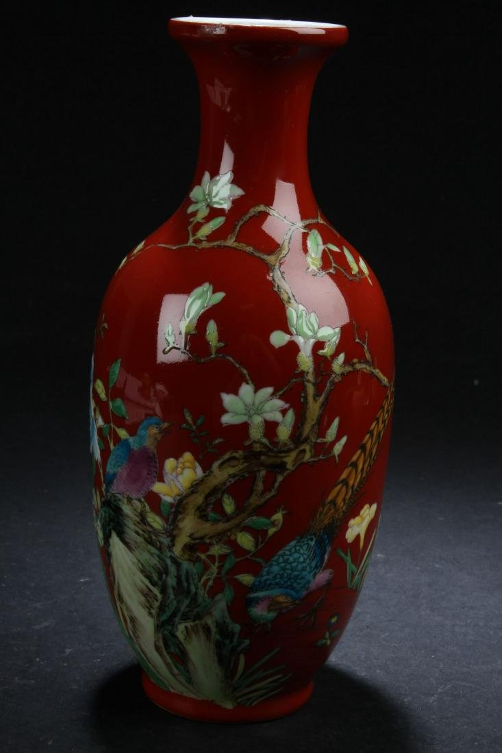 A Chinese Red Nature-sceen Fortune Porcelain Vase