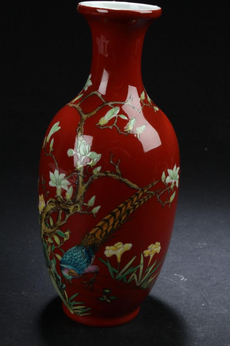 A Chinese Red Nature-sceen Fortune Porcelain Vase - 5