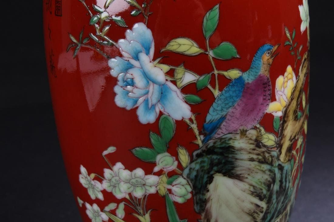 A Chinese Red Nature-sceen Fortune Porcelain Vase - 6