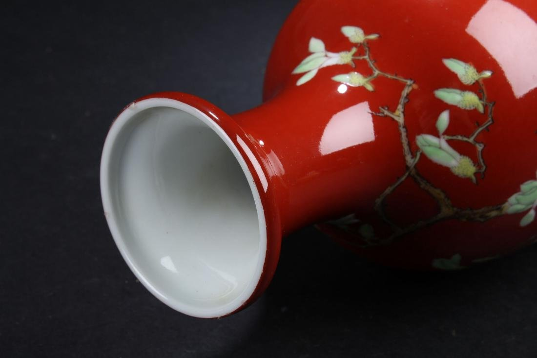 A Chinese Red Nature-sceen Fortune Porcelain Vase - 7
