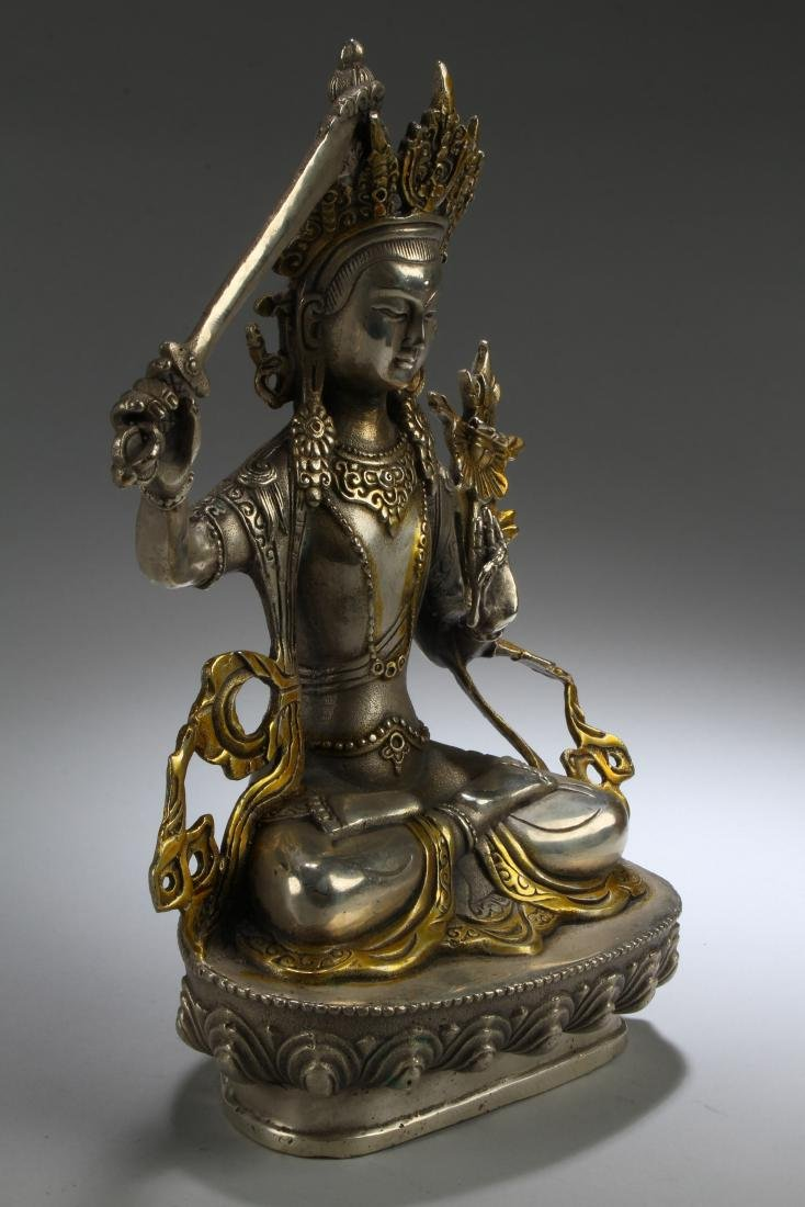 A Sword-posing Chinese Estate Fortune Buddha Statue - 2