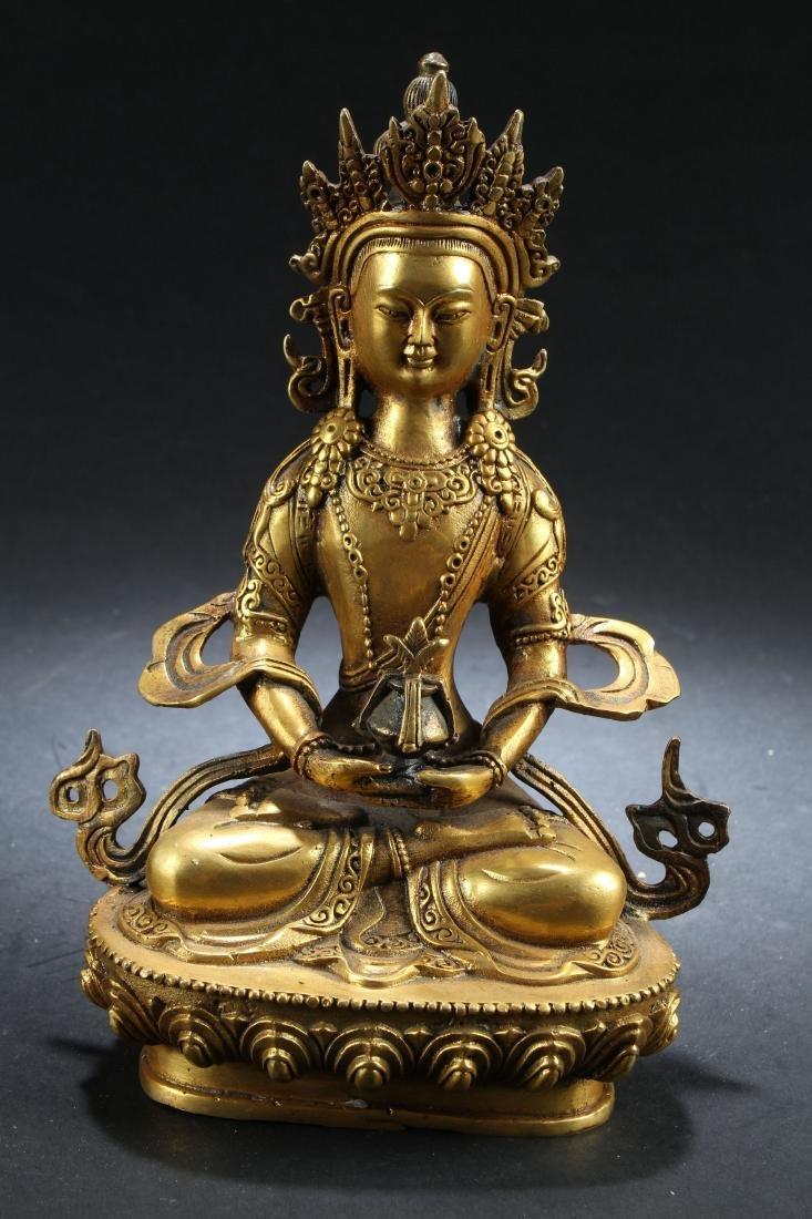 A Gilt Chinese Estate Fortune Buddha Statue