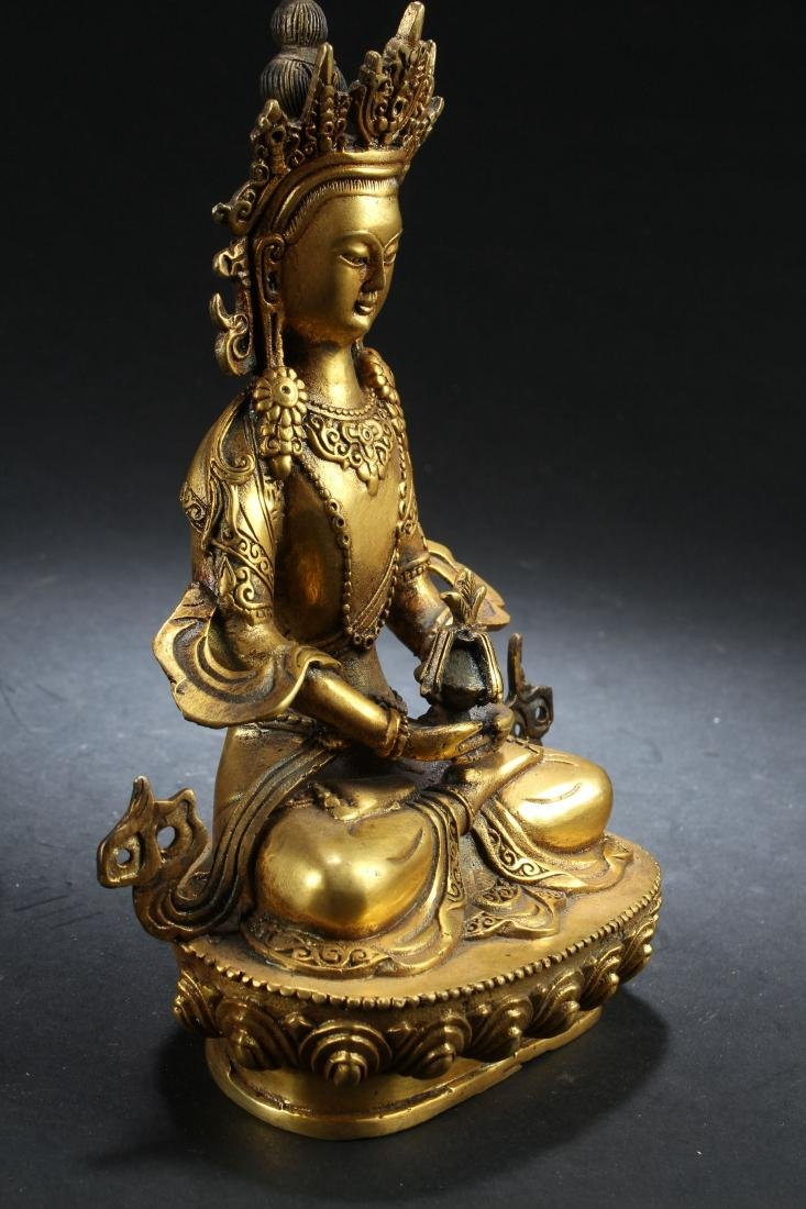 A Gilt Chinese Estate Fortune Buddha Statue - 2