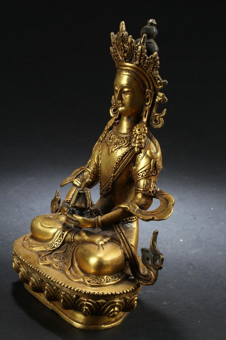 A Gilt Chinese Estate Fortune Buddha Statue - 3