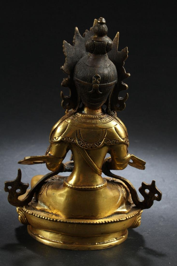 A Gilt Chinese Estate Fortune Buddha Statue - 4