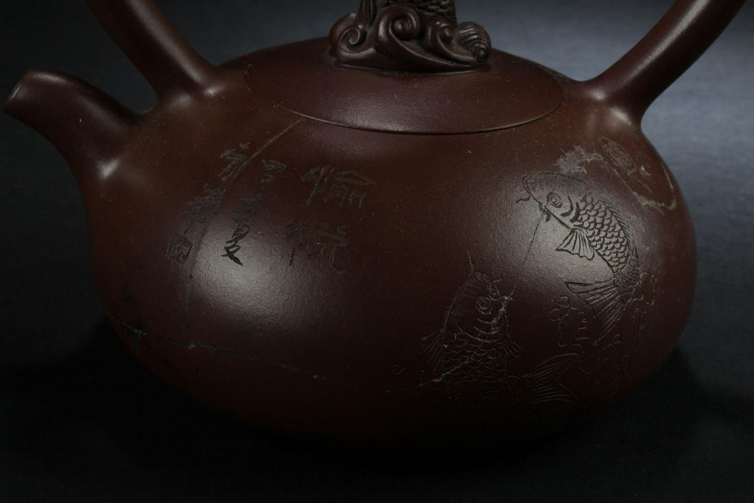 A Chinese High-handled Estate Tea Pot Display - 4