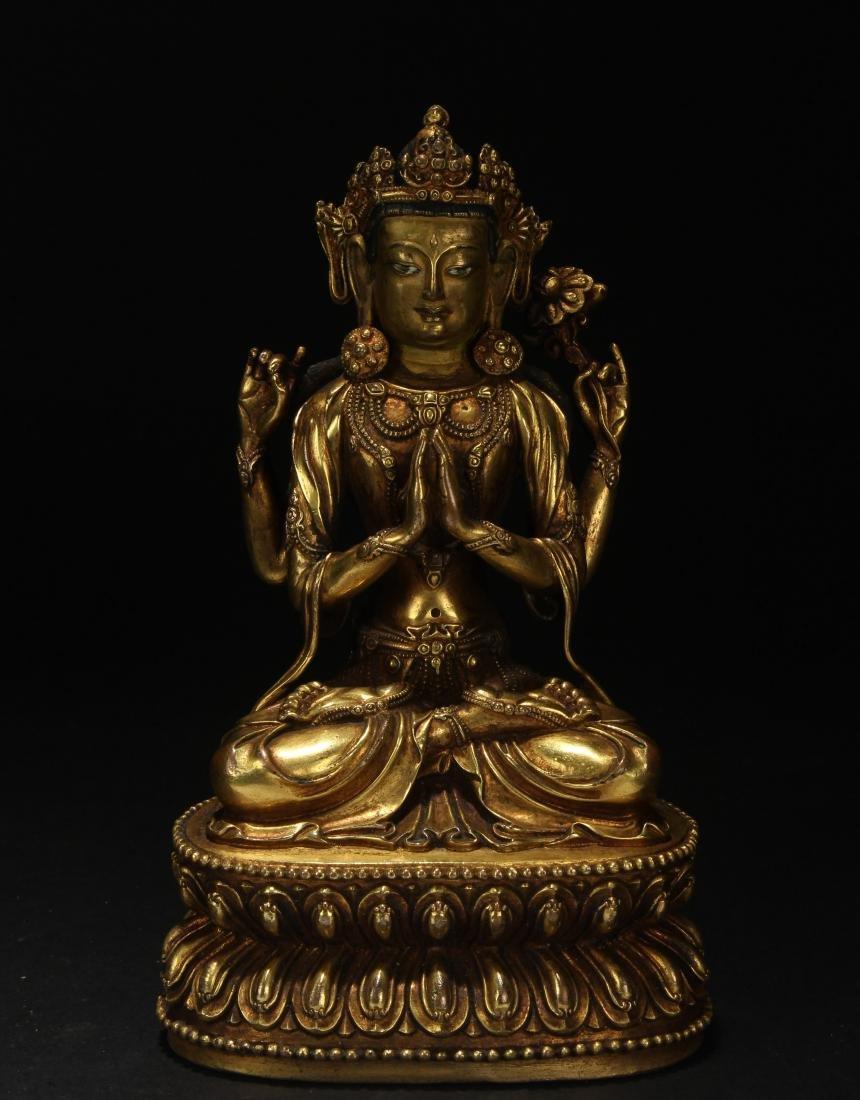 A Tibetan Estate Peaceful-look Buddha Statue