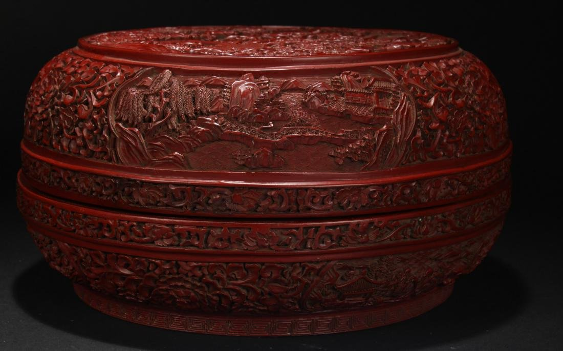 A Chinese Temple-sceen Plant-fortune Lacquer Box - 2