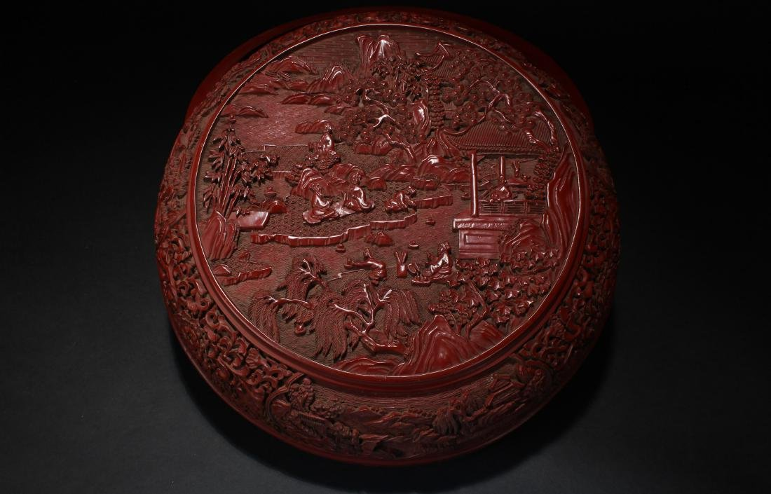 A Chinese Temple-sceen Plant-fortune Lacquer Box - 3