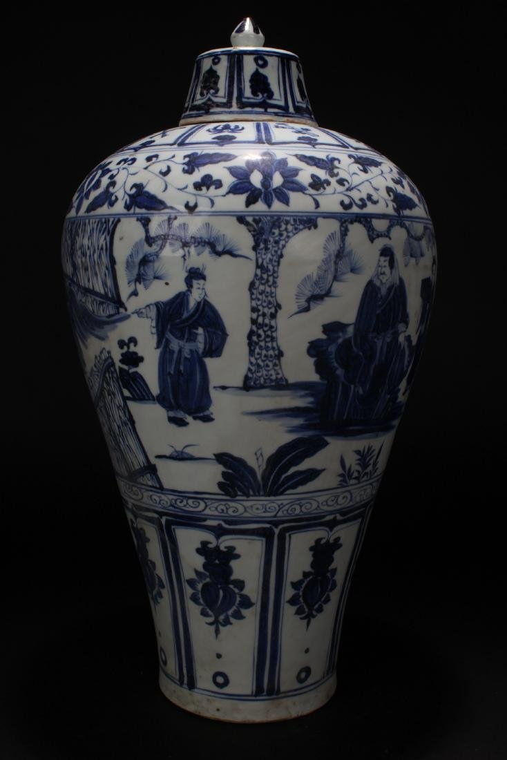 An Estate Chinese Blue and White Story-telling Vase - 3