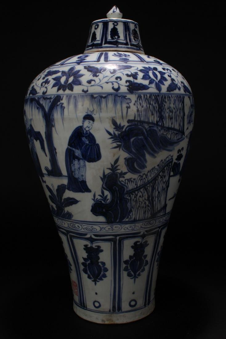 An Estate Chinese Blue and White Story-telling Vase - 4