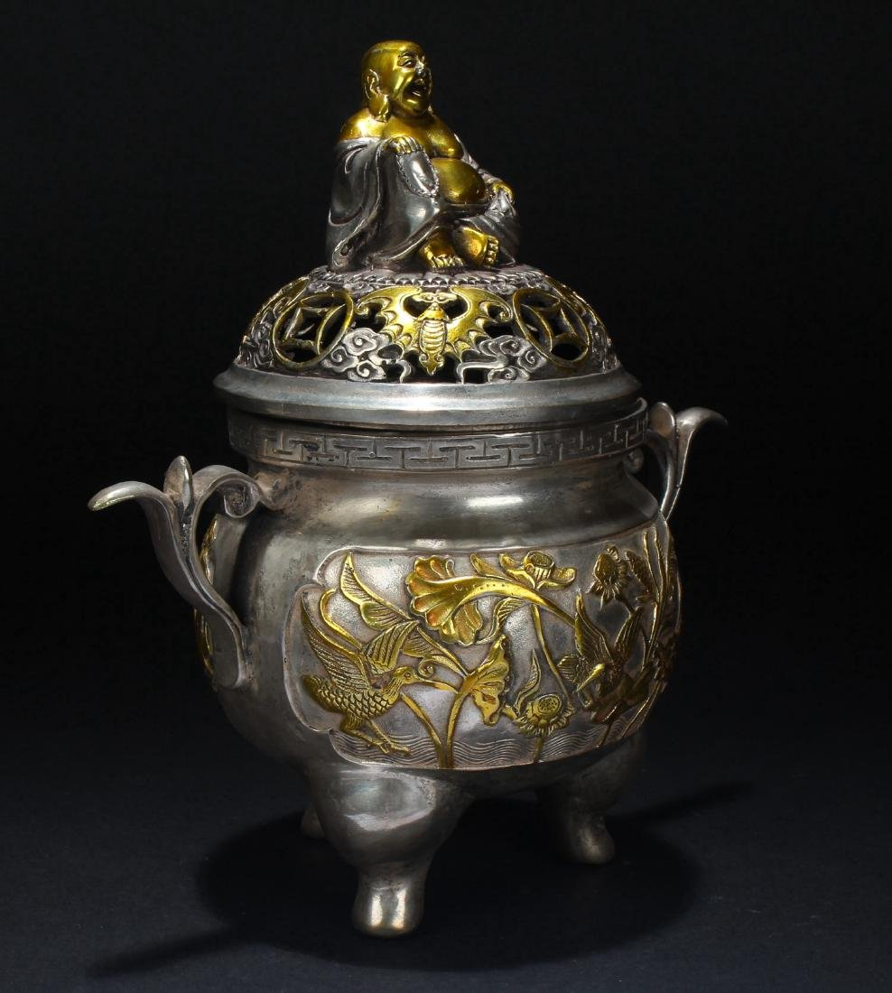 A Chinese Happy-buddha Censer Fortune Display - 2