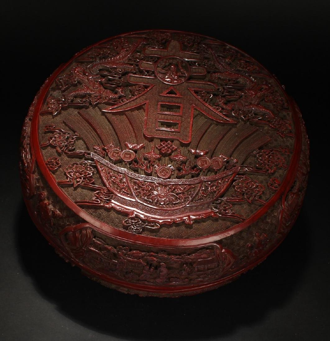 An Estate Spring-fortune Chinese Lacquer Box Display