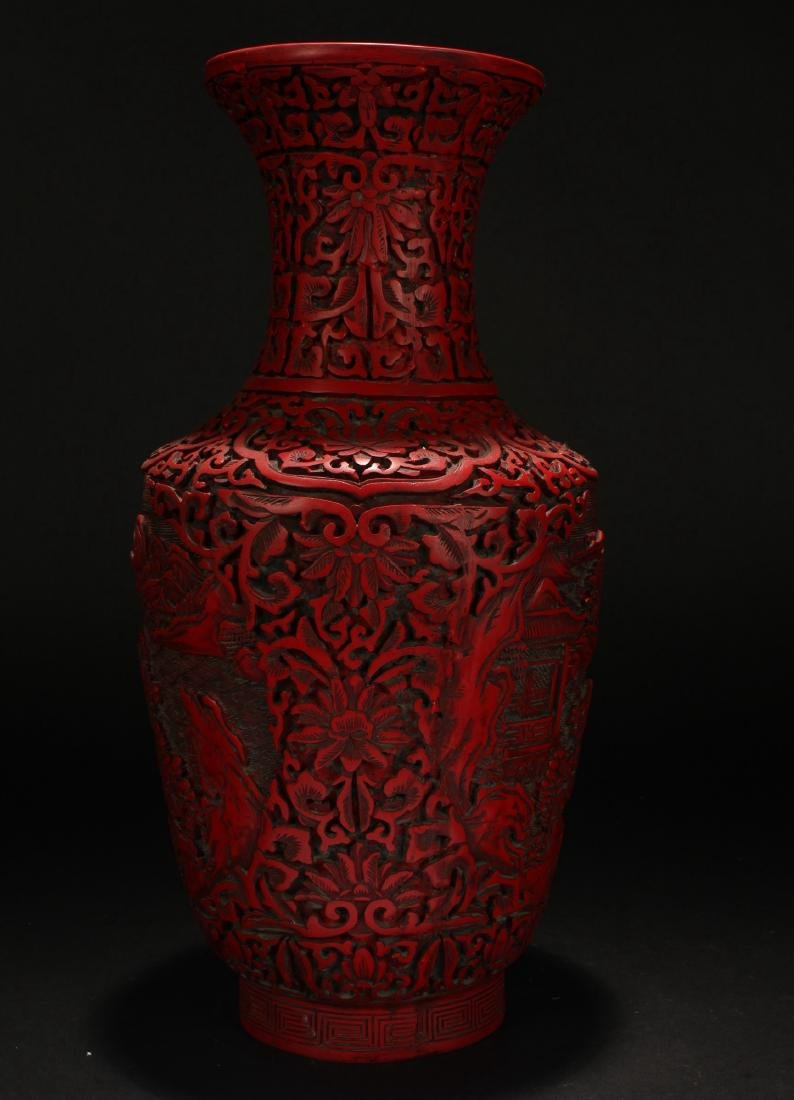 A Chinese Mountain-view Lacquer Vase - 2