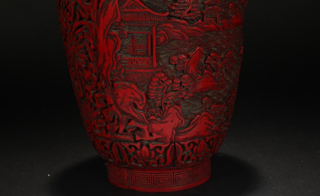 A Chinese Mountain-view Lacquer Vase - 6
