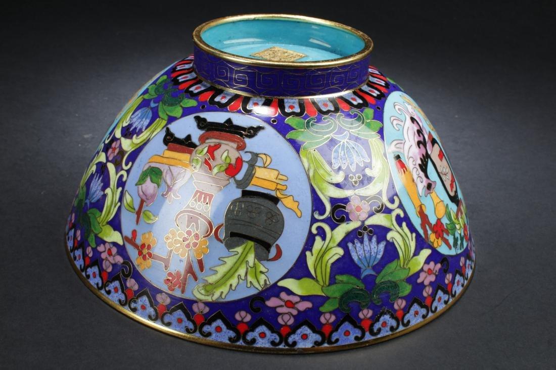 A Chinese Circular Bat-framing Estate Cloisonne Bowl - 10