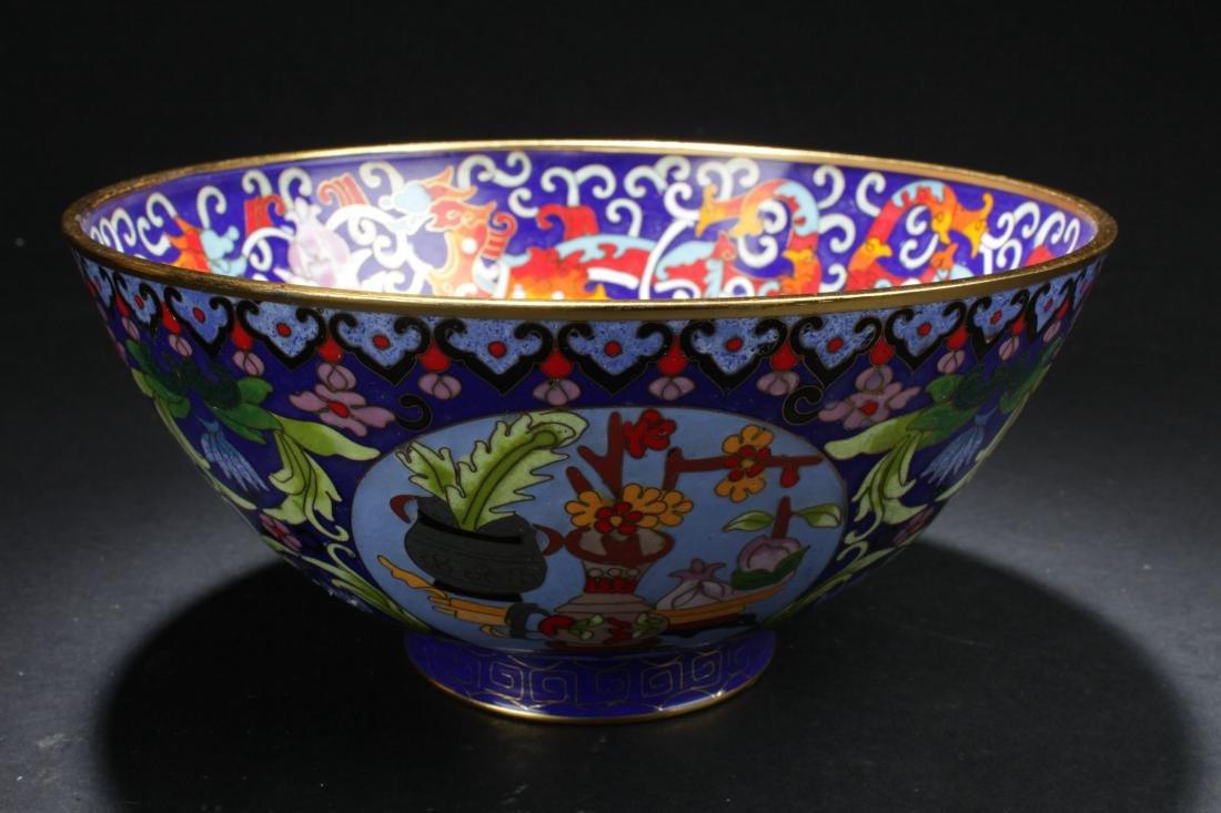 A Chinese Circular Bat-framing Estate Cloisonne Bowl - 2