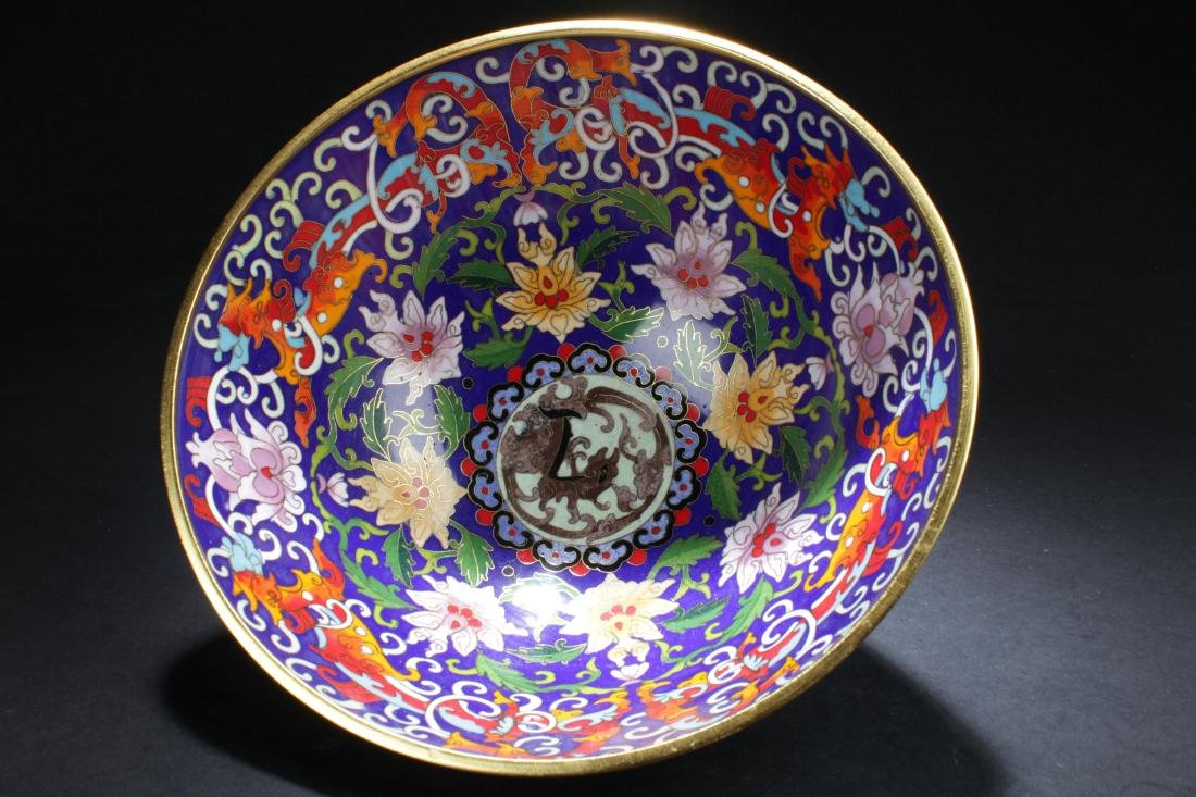 A Chinese Circular Bat-framing Estate Cloisonne Bowl - 4