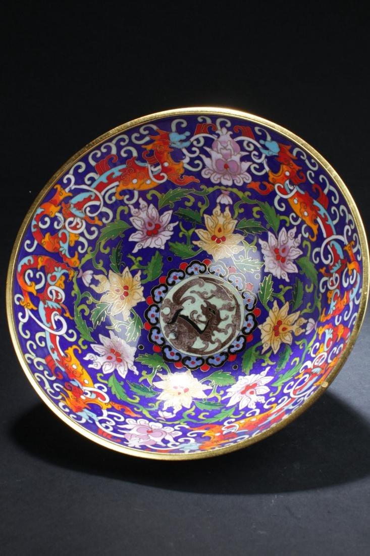 A Chinese Circular Bat-framing Estate Cloisonne Bowl - 5