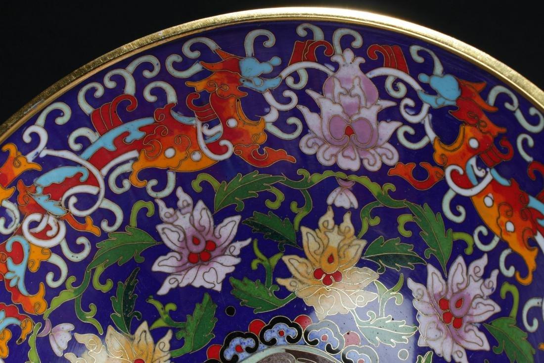A Chinese Circular Bat-framing Estate Cloisonne Bowl - 7