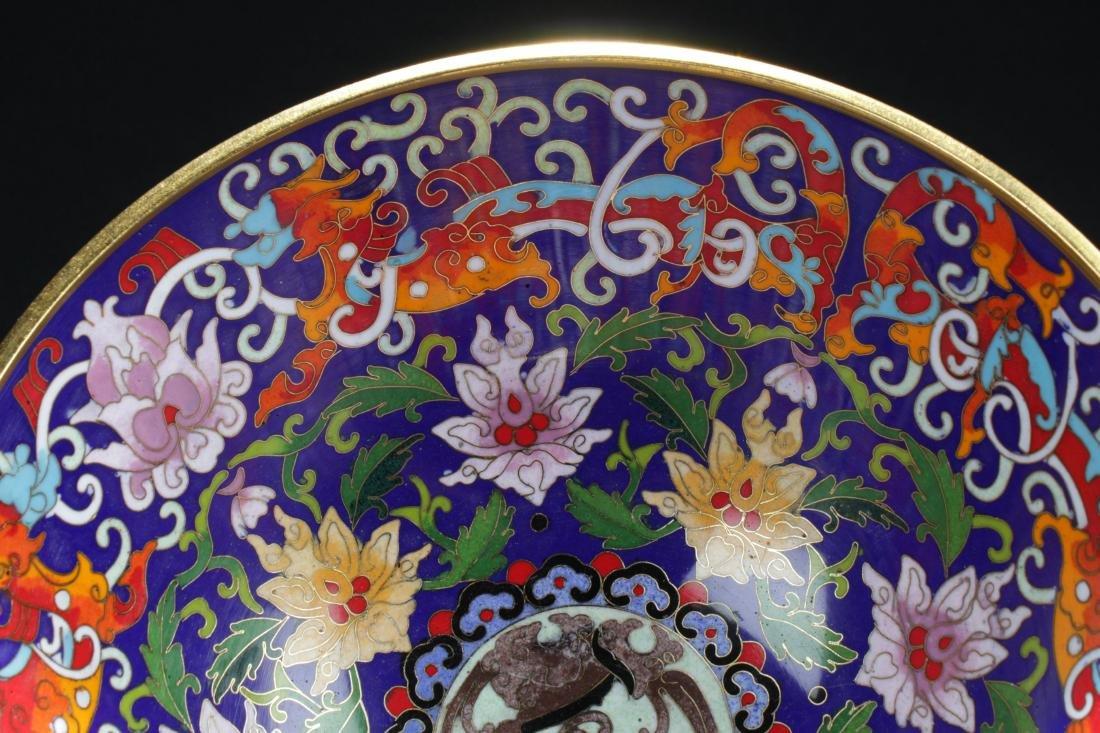 A Chinese Circular Bat-framing Estate Cloisonne Bowl - 8