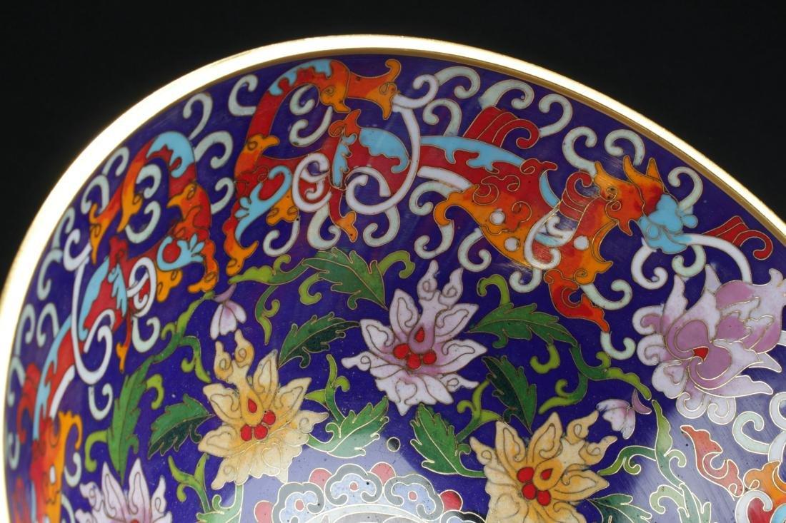 A Chinese Circular Bat-framing Estate Cloisonne Bowl - 9