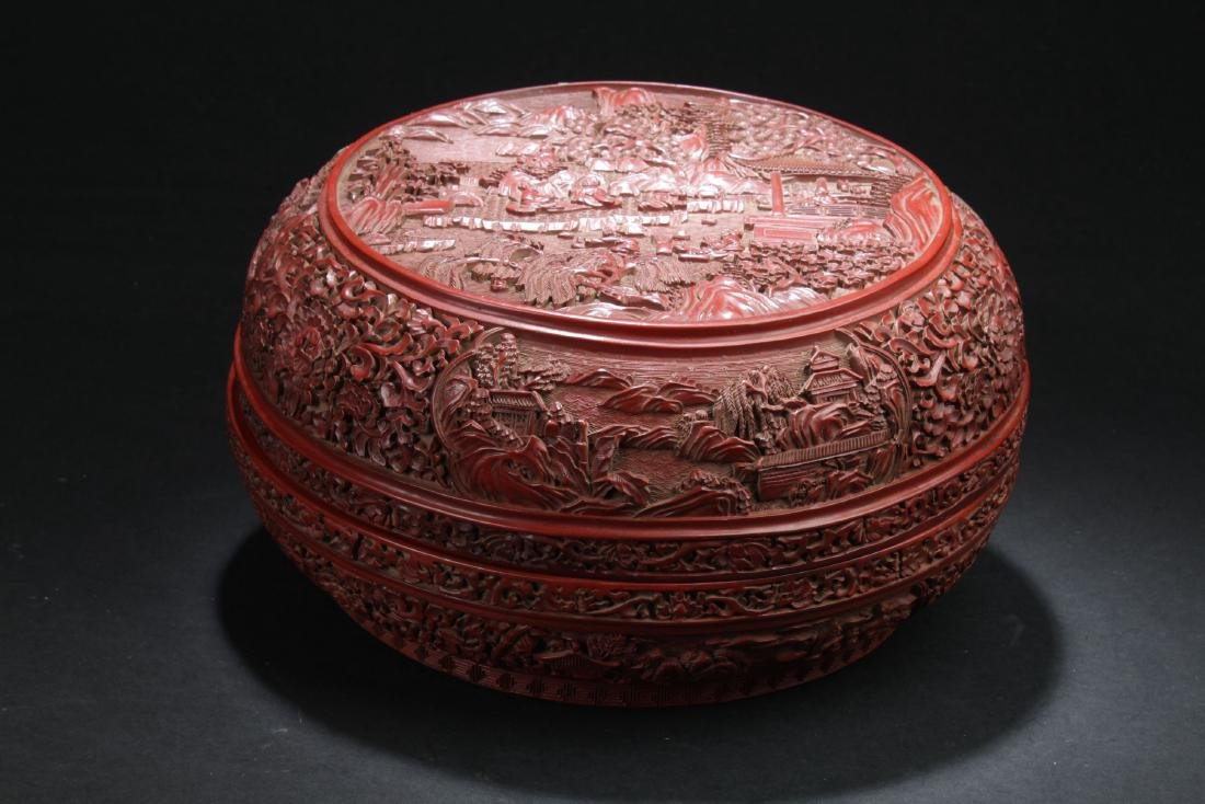 A Temple-sceen Estate Lidded Chinese Lacquer Box